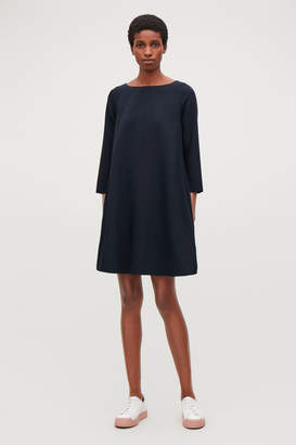 Cos WIDE-NECK A-LINE WOOL DRESS