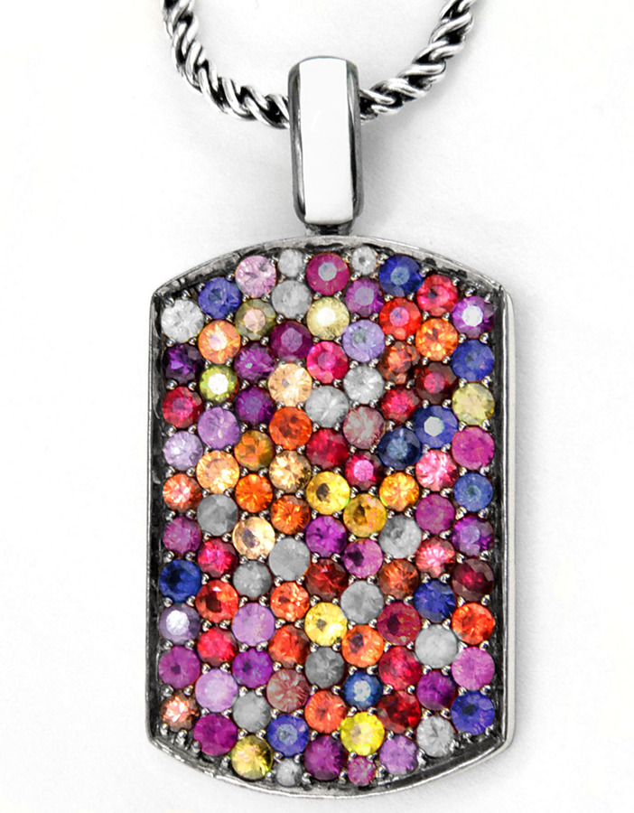 EFFY COLLECTION Sterling Silver & Enamel Sapphire Stone Pendant Necklace