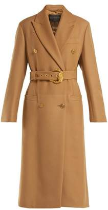Versace Double Breasted Wool Coat - Womens - Beige