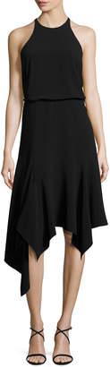Halston Sleeveless Stretch Crepe Handkerchief Cocktail Dress