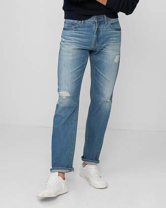 Express Slim Straight Destroyed Soft Cotton Stretch Jeans