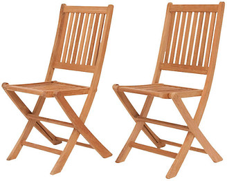 International Home Miami London Outdoor Teak Folding Chairs - Set of 2