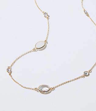 LOFT Mixed Stone Station Necklace