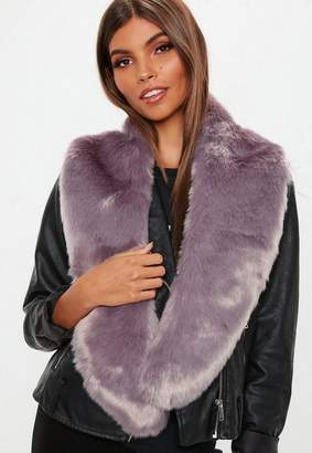 Missguided Purple Faux Fur Scarf