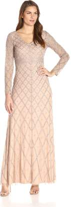 Adrianna Papell Women's Long Sleeve V-Neck Beaded Gown, Taupe/Pink