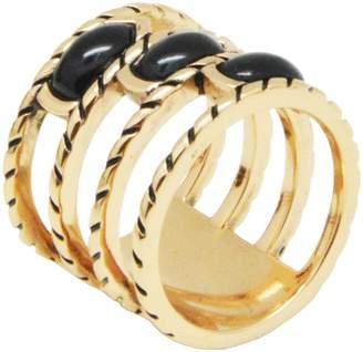 Barse Bronze Stacked Onyx Ring
