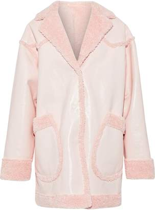 Opening Ceremony Reversible Faux Shearling And Faux Patent-leather Coat
