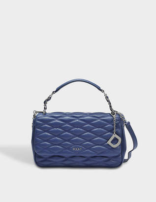 DKNY Diamond Quilted Medium Flap Shoulder Bag in Iris Quilted Lamb Nappa Leather