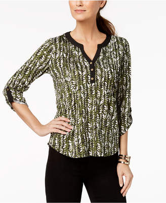 NY Collection Petite Printed Pleated Top
