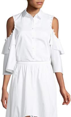 Neiman Marcus Prose & Poetry Ramona Button-Down Cold-Shoulder Cotton Poplin Shirt