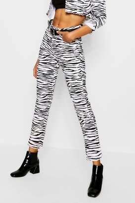 boohoo Zebra Print Straight Leg Jeans