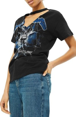 Women's Topshop By And Finally Metallica Lightning Choker Tee $52 thestylecure.com