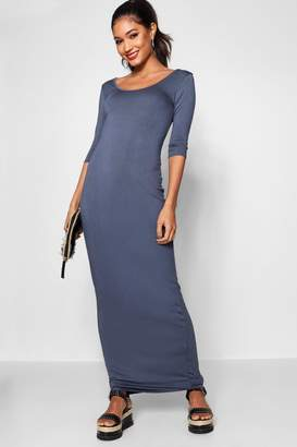 boohoo 3/4 Sleeve Scoop Neck Maxi Dress
