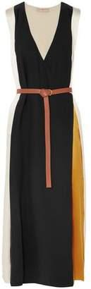 Tory Burch Color-block Silk-satin Midi Wrap Dress