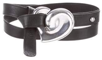 Tiffany & Co. Sterling Silver Buckle Leather Belt