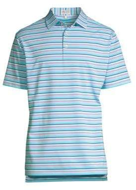 Peter Millar Men's Morgan Striped Jersey Polo Shirt - White Plaza Blue - Size Large
