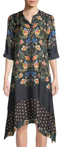 Johnny Was Uptimo Floral-Print Silk A-line Dress