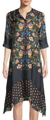 Johnny Was Uptimo Floral-Print Silk A-line Dress