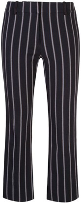 Derek Lam 10 Crosby Cropped Flare Pencil Striped Trouser with Braided Trim