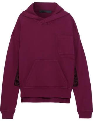Haider Ackermann - Satin-paneled Cotton-jersey Hooded Sweatshirt - Claret $1,080 thestylecure.com