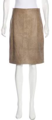 BCBGMAXAZRIA Embossed Leather Skirt