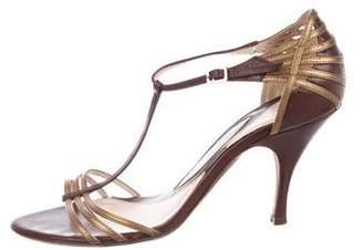 Alessandro Dell'Acqua Leather T-Strap Sandals