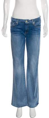 7 For All Mankind Distressed Mid-Rise Wide-Leg Jeans