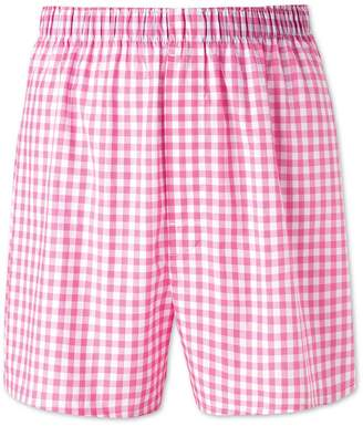 Charles Tyrwhitt Pink Gingham Woven Boxers Size XL
