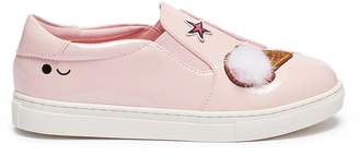 WiNK 'Ice Cream' patch kids leather skate slip-ons