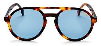 Carrera Men's Double Bridge Round Aviator Sunglasses, 58mm
