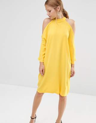 Liquorish Cold Shoulder Oversized Midi Dress $45 thestylecure.com