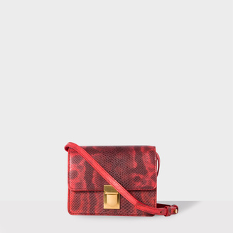 Women's Red Snakeskin Mini Concertina Box Satchel $825 thestylecure.com