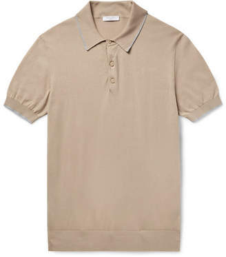 Boglioli Slim-Fit Contrast-Tipped Knitted Cotton Polo Shirt