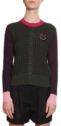 Kenzo Beaded Eye Colorblock Cardigan