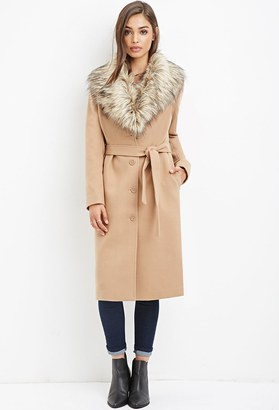 FOREVER 21+ Faux Fur-Trimmed Duster Coat $92.90 thestylecure.com