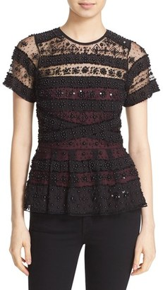 Women's Parker 'Shannon' Beaded Lace Peplum Top $398 thestylecure.com