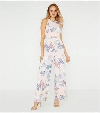 e2bd5170397 Little Mistress Floral Printed Lace Back Jumpsuit - Multi