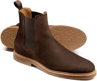 Charles Tyrwhitt Brown Nubuck Leather Chelsea Boots Size 8