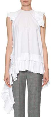 Alexander McQueen Sleeveless Asymmetric-Hem Poplin Blouse with Ruffled Trim