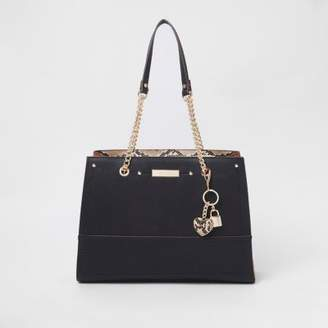 River Island Womens Black charm structured chain tote bag