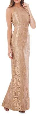 JS Collections Metallic Embroidered Gown