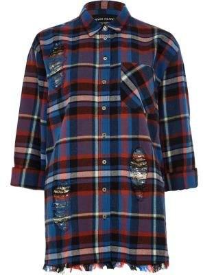 River Island Blue long sleeve check raw hem shirt