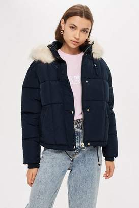 Topshop Petite Navy Faux Fur Quilted Puffer Jacket