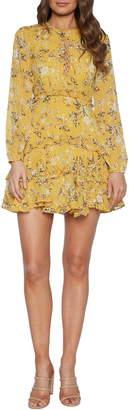 Bardot Floral Long Sleeve Frill Minidress