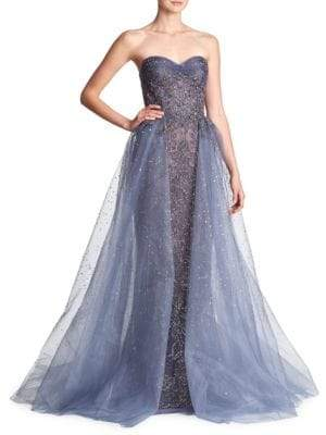 Marchesa Beaded Tulle Metallic Gown
