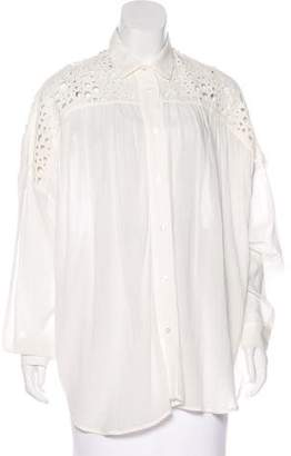 IRO Crochet-Accented Button-Up Blouse