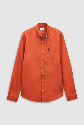 Next Mens Ink Blue Long Sleeve Stag Oxford Shirt
