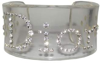 Christian Dior Clear Plastic and Rhinestone Cuff Bracelet