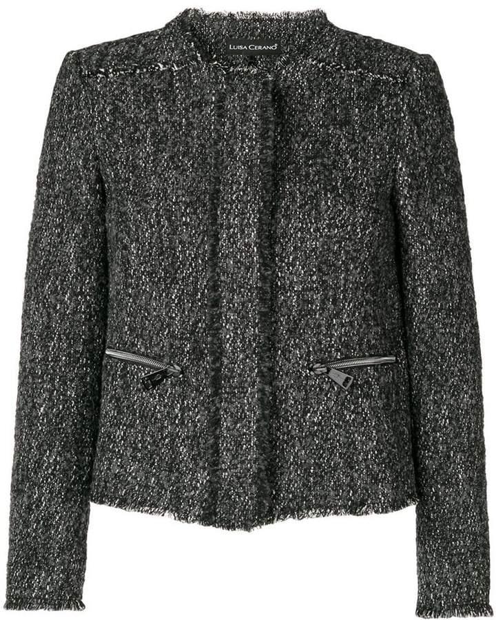 Luisa Cerano Tweed-Jacke mit Reißverschlusstaschen
