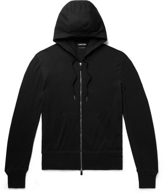 Tom Ford Slim-Fit Cotton, Silk and Cashmere-Blend Zip-Up Hoodie - Men - Black